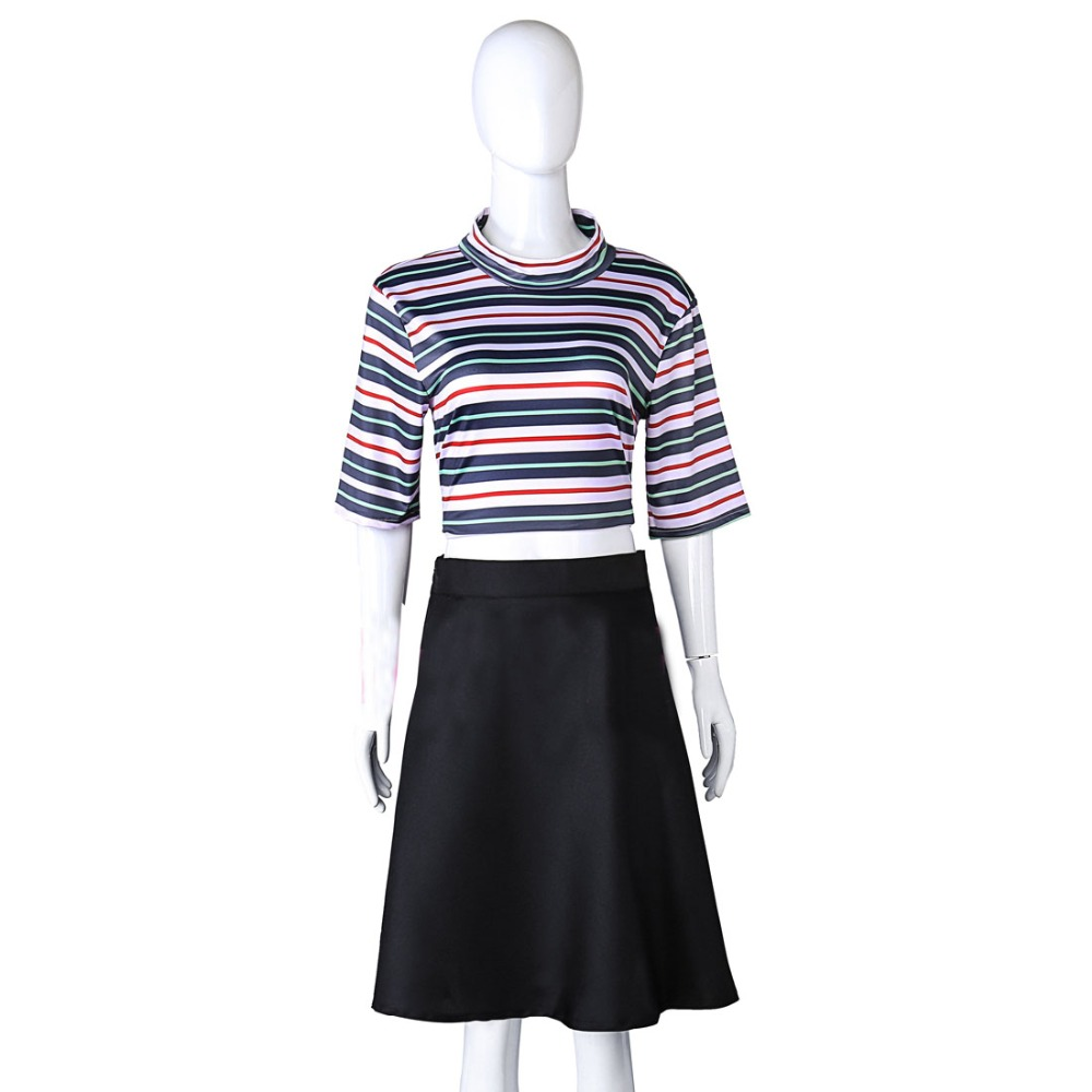 2018 Manga Manwha Killing Stalking YinFan Anime Cosplay Costume Stripe Shirt + Skirt