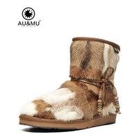 2017 AUMU Australia Fashion Mini Sheepskin Fur Lace up Ankle Snow Winter Boots UG N055