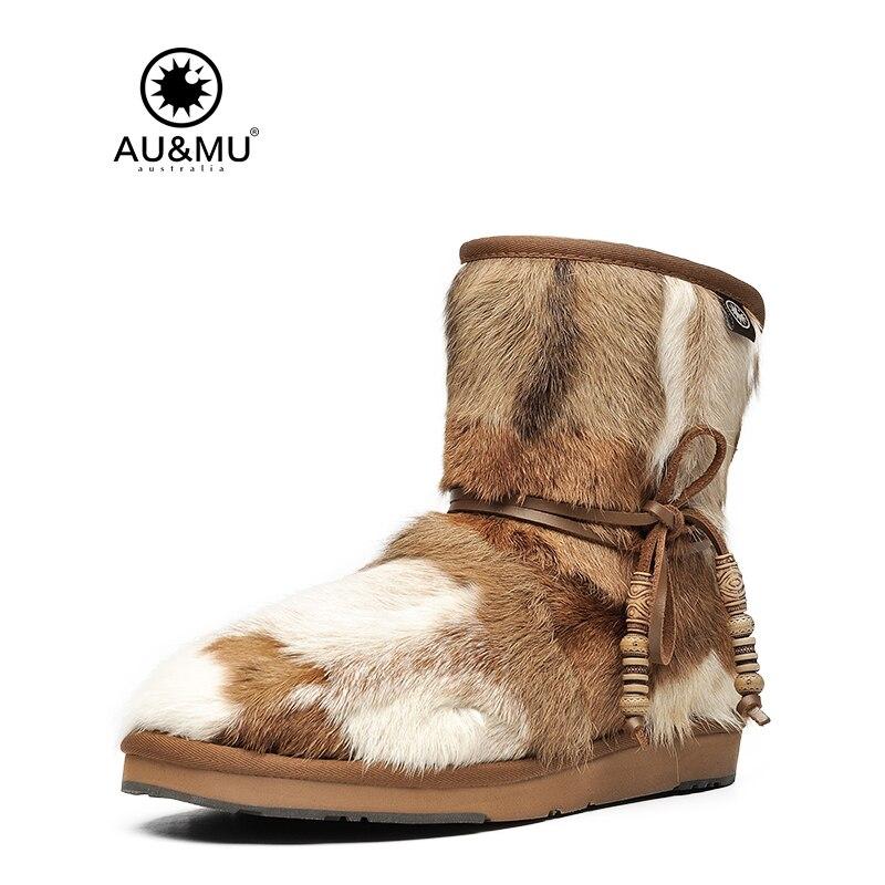 2018 AUMU Australia Fashion Mini Sheepskin Fur Lace-up Ankle Snow Winter Boots N055 2017 aumu australia comfort suede fur mid calf flat lace up round toe winter snow boots ug n728