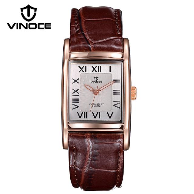 VINOCE Amantes Relógios de Marca de Luxo 2016 Couro Banda Relógio de Quartzo Casais de Homens E Mulheres Casuais relógios de Pulso de Moda 8116