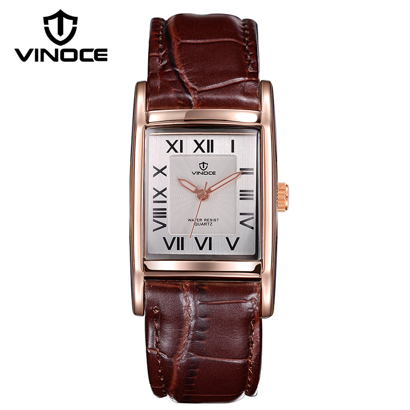 VINOCE Brand Luxury Lovers Watches 2019 Leather Band Quartz Watch Men And Women Casual Couples Wristwatches Fashion 8116 in Lover 39 s Watches from Watches