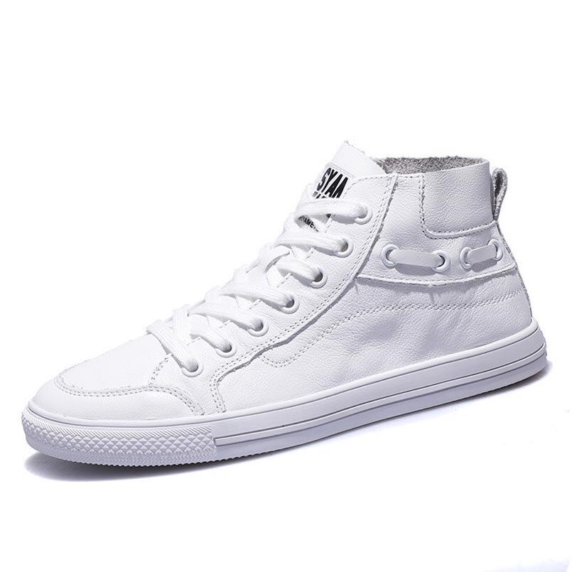 Véritable Femme Plat Femmes Chaussures Sport Top Nouveau Fond En Sauvage black High Sneakers Cuir White Blanc 2018 Épais Petit Casual Fidanei 6Pq8T8