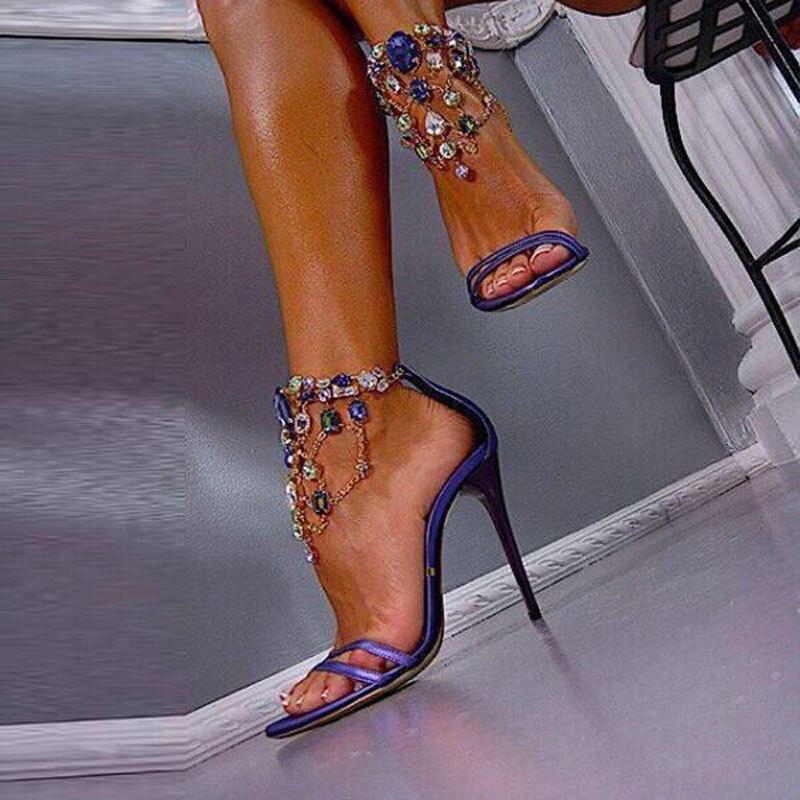 Luxury Multi Crystal Embellished Stiletto Heel Sexy Sandal Zipper Detail Ankle Strap Sandals Summer Wedding Dress Shoes Women denim zipper hollow worn stiletto womens sandals