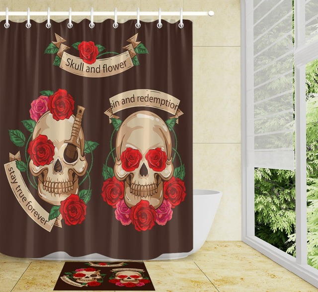 Awe Inspiring Lb 72 Red Rose Flower Chocolate Shower Curtains Sugar Skull Halloween Polyester Bathroom Curtain Set Fabric For Bathtub Decor In Shower Curtains Download Free Architecture Designs Xerocsunscenecom
