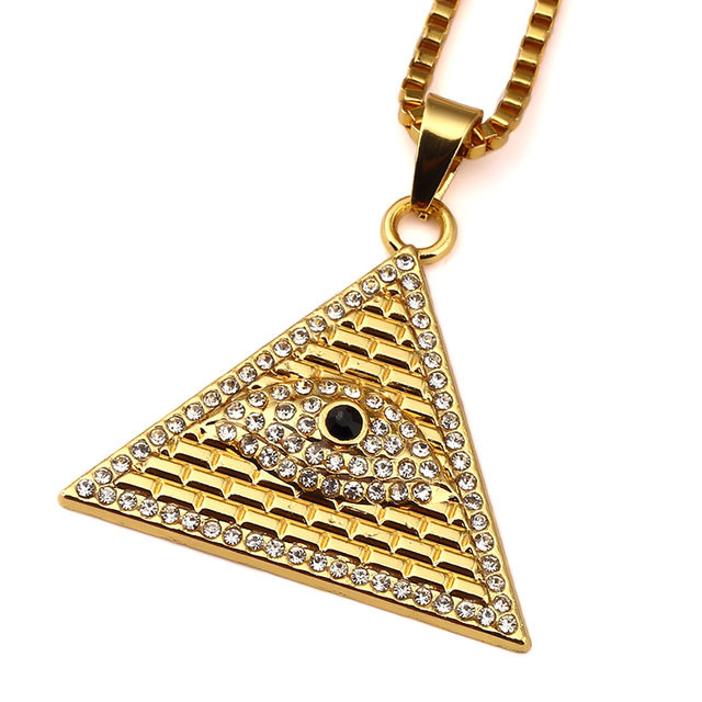 Online shop golden egyptian pyramid necklaces pendants men women golden egyptian pyramid necklaces pendants men women iced out crystal illuminati evil eye of horus chains jewelry gifts aloadofball Image collections