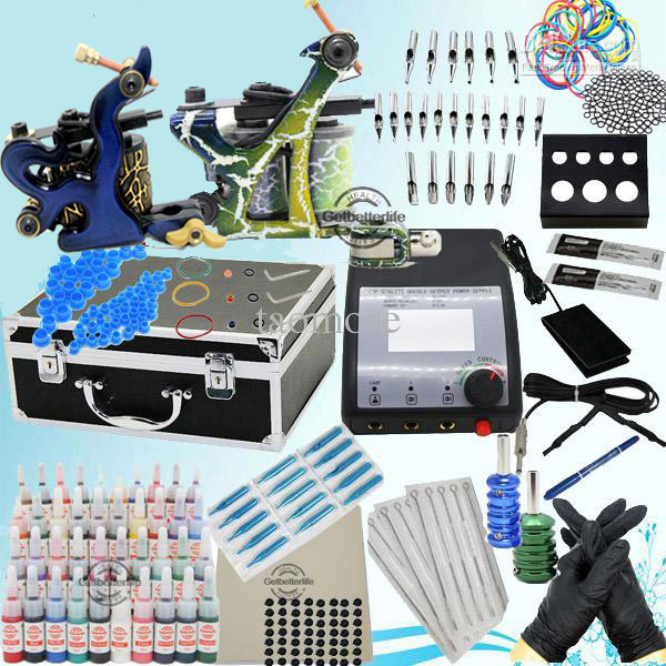 USA Dispatch Complete Beginner Tattoo Kit Sets 40 Inks 2 Machines Guns Grips Needles Tips Power Set Equipment Supplies KI258