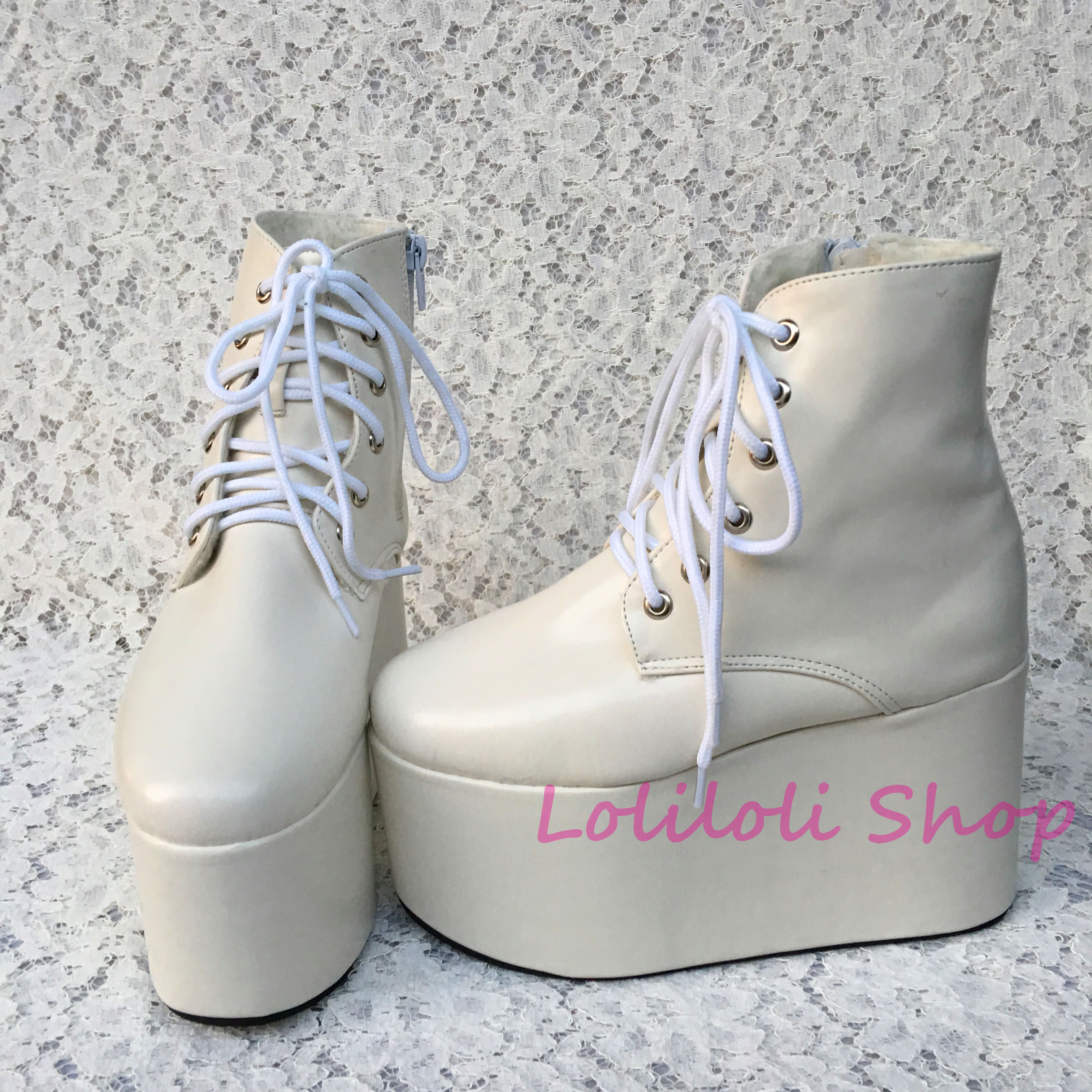 Princess sweet lolita shoes Lolilloliyoyo antaina The thick white bottom shoe shaped high bright leather flat platform shoe 4178 si4178dy si4178 4178 sop8