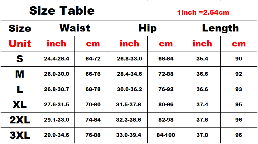 pu leggings size table