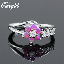 Cexbby Hot sale ring Lowercase Beautiful Women Opal Stones White Flower Opal Fire Silver Rings Wedding ring party ring