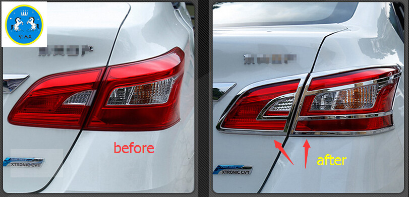Exterior For Nissan Sentra 2012 - 2018 / Sylphy 2012 - 2018 ABS Rear Tailgate Tail Light Trunk Lamp Frame Cover Trim 4 pcs / set high quality stainless steel 20pcs full window b pillar frame trim cover for nissan sentra sylphy 2012 2013