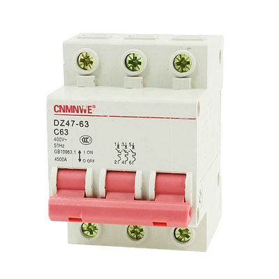 цена на AC 400V 63A 3 Pole DIN Rail On/Off Switch Mini Circuit Breaker 4500A