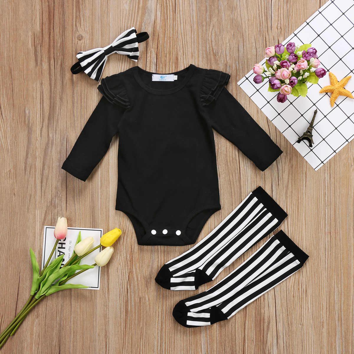 36ef12ed5a675 ... infant Newborn Baby Girls Black Flying Sleeve romper Bodysuit + Leggings  Socks Headband Outfits Set 2017 ...