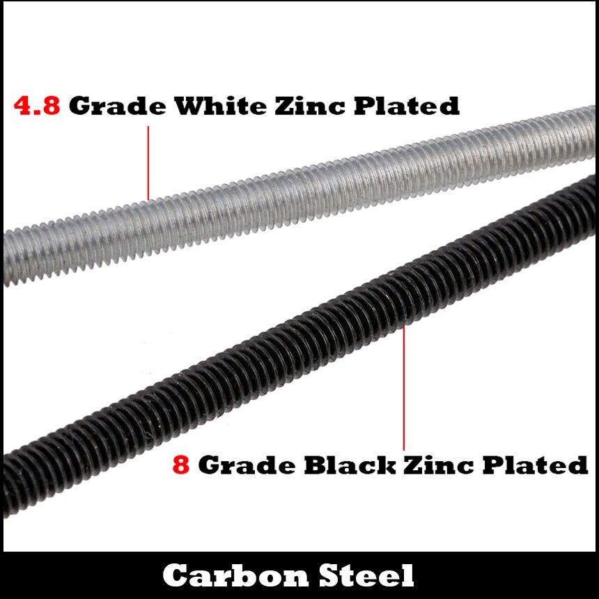 M8 M8*250 M8x250mm M8*300 M8x300mm 4.8 Grade White Zinc Plated Carbon Steel DIN975 Full Metric Thread Bolt Shaft Rod Bar Stud недорго, оригинальная цена