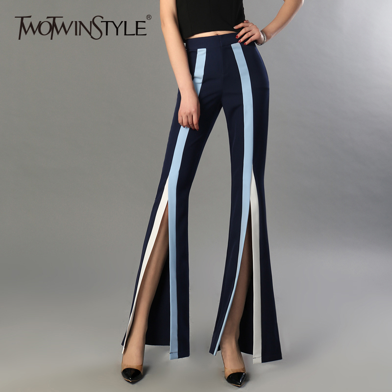 TWOTWINSTYLE Women's Flare Pants Female High Waist Elastic Striped Bodycon Split X Long Trousers 2018 Spring Summer Fashion New