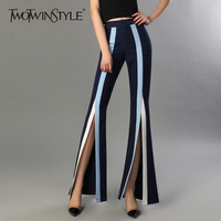 TWOTWINSTYLE Women S Flare Pants Female High Waist Elastic Striped Bodycon Split X Long Trousers 2018
