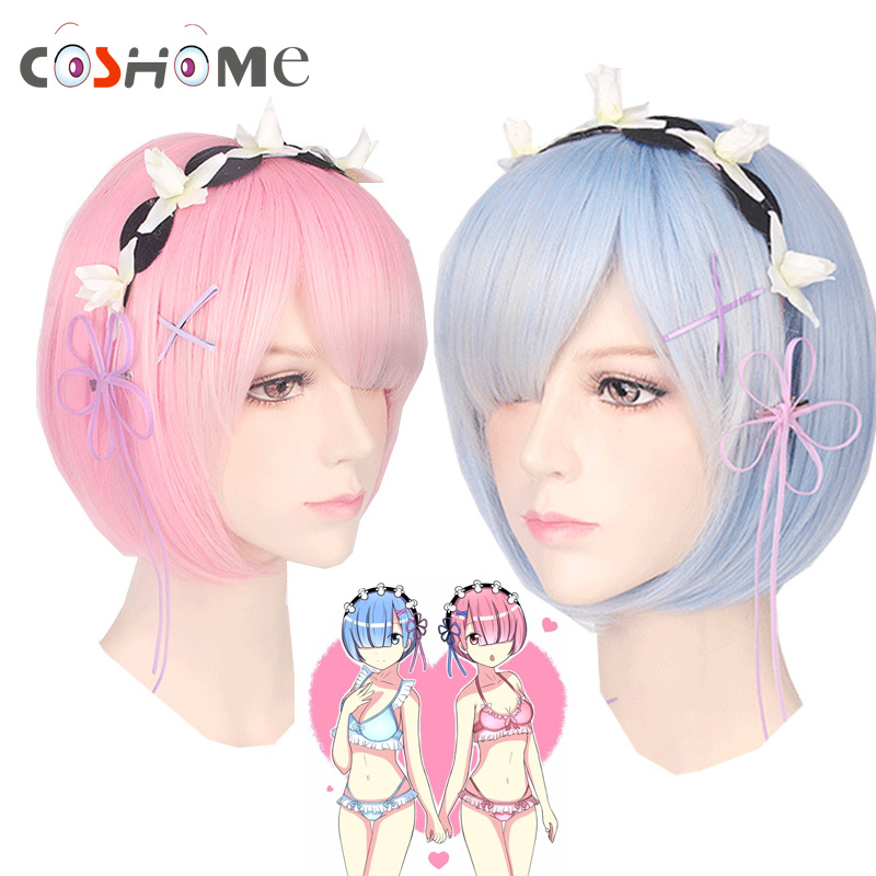 Coshome Re zero Ram Rem Wigs Headdress Re:Life In A Different World From Zero Cosplay Costumes Blue Pink Swimsuits