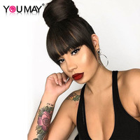 Brazilian Human Hair Blunt Bangs Clip In Human Hair Extension Natural Black 100% Virgin Hair Products You May