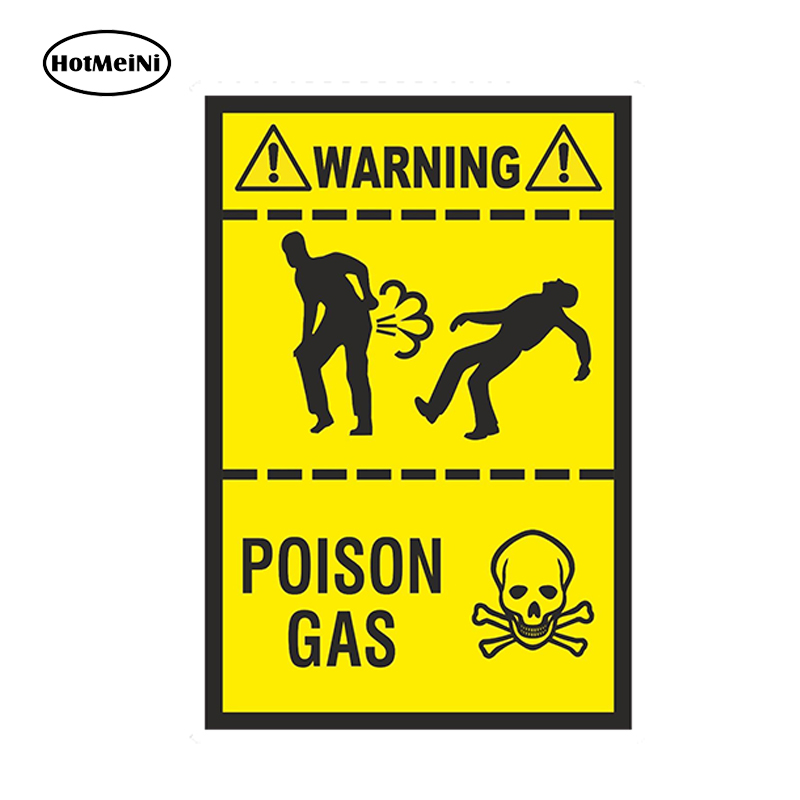HotMeiNi Car Styling Poison Gas Fart 3D Sticker Funny Warning Farting Gases Truck Toilet Waterproof Accessories 13x8.8 cm