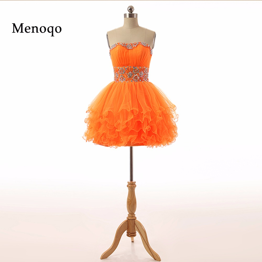 PRD438 Adorable Factory Custom made Ball gown Beaded Tulle mini Party Wear 2019 Real Photo short   cocktail     dresses   orange