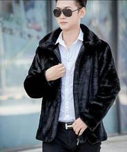 Winter autumn thicken thermal leather jacket men casual mens faux marten fur coats black long sleeve clothing personalized