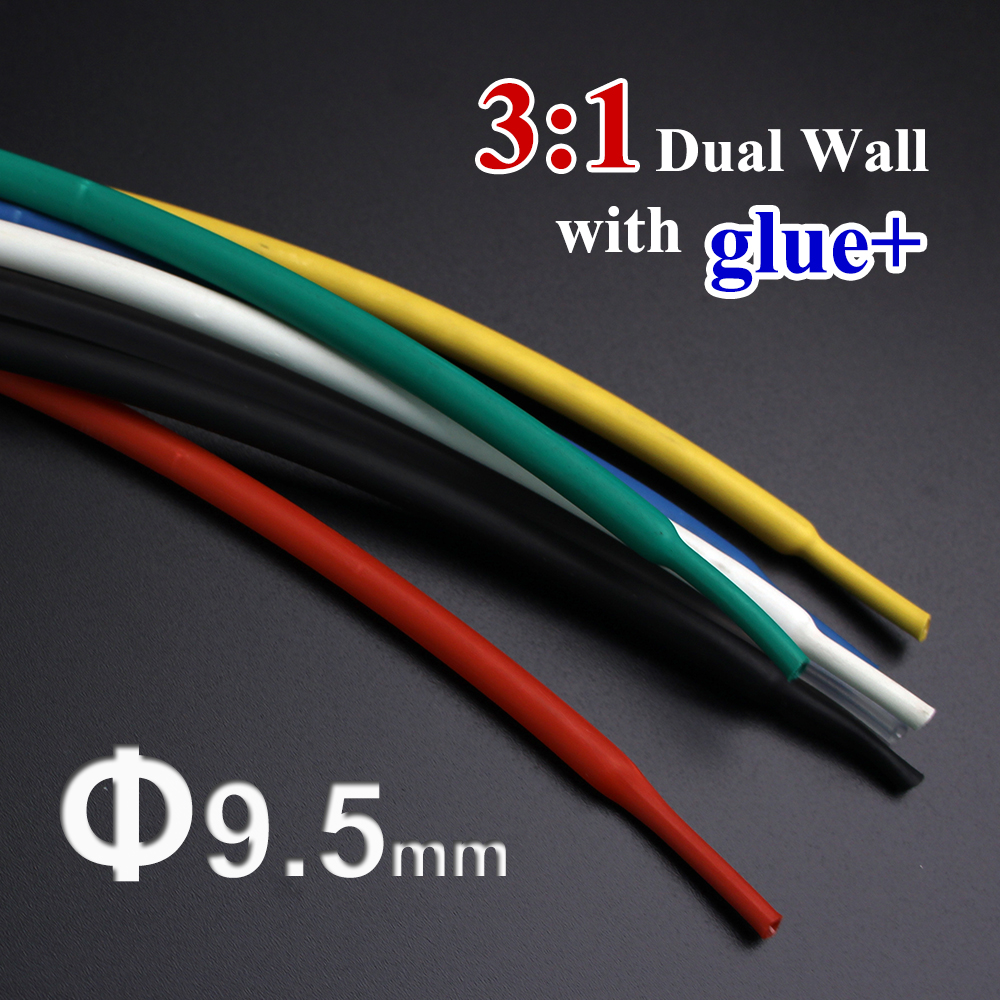 Wiring Accessories Clever 1.22meter/lot 9.5mm 3:1 Dual Wall Heat Shrink Tube With Thick Glue Heatshrink Tubing Adhesive Lined Cable Sleeve Wrap Wire Kits