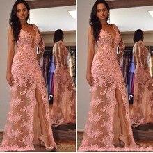 Lace longo Rosa Vestidos De Noite Do Lado de Alta Fenda Sexy 2016 Um Ombro-Ver Através Formal Prom Party Vestidos ZHP998(China (Mainland))