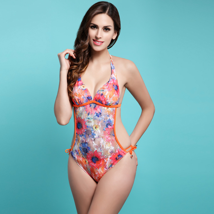 e8515a85cf Popular Sexy Lady s Perspective Floral Pattern Tight one piece Swimwear  Show Nice Figure Backless Durable Swimsuit Cheap Price-in One-Piece Suits  from ...