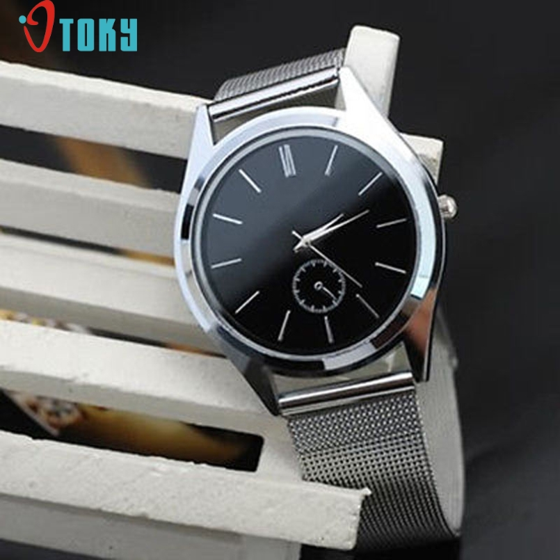 Excellent Quality OTOKY Top Luxury Brand Watches Mens Stainless Steel Mesh Strap Quartz Watches Dial Clock Man Relogio Masculino