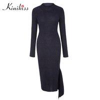 Kinikiss 2017 Women Bodycon Dress Asymmetrical Plus Size Women Clothing Chic Elegant Sexy Fashion O Neck