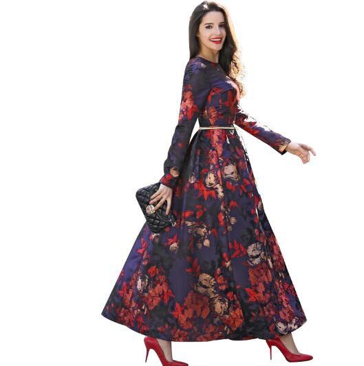 Moda de nova impresso maxi vestido luva longa das mulheres do vintage roupas de corpo inteiro bonito do partido de noite magro flores o pescoço 5982