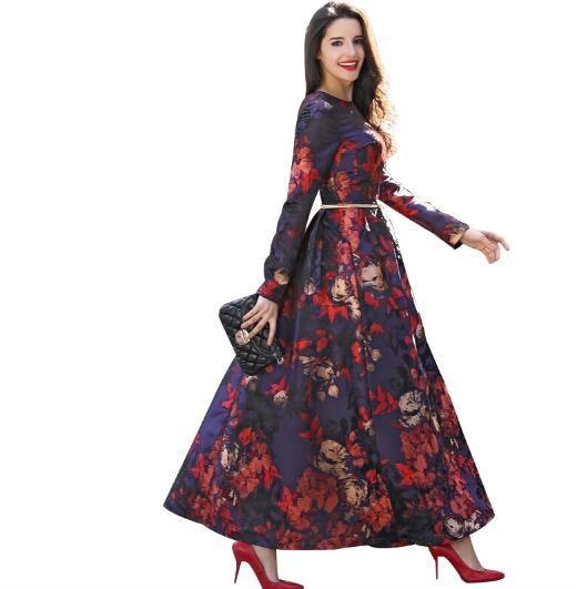 Nieuwe mode gedrukt maxi vintage jurk vrouwen lange mouw avond kleding volledige lengte pretty party slim bloemen o hals 5982