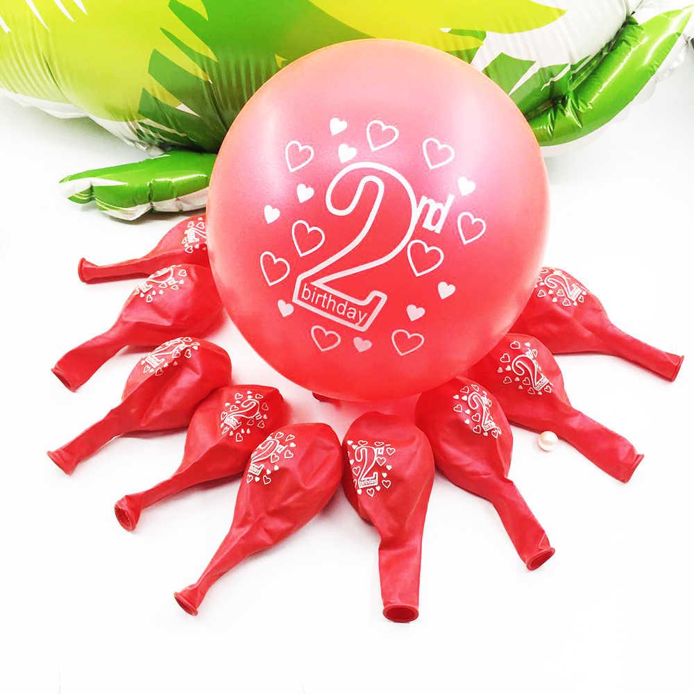 Globos de látex amwill 10 Uds., segundo cumpleaños, feliz cumpleaños, número 2, globos de látex para cumpleaños de 2 años, decoraciones para Baby Shower, 5D