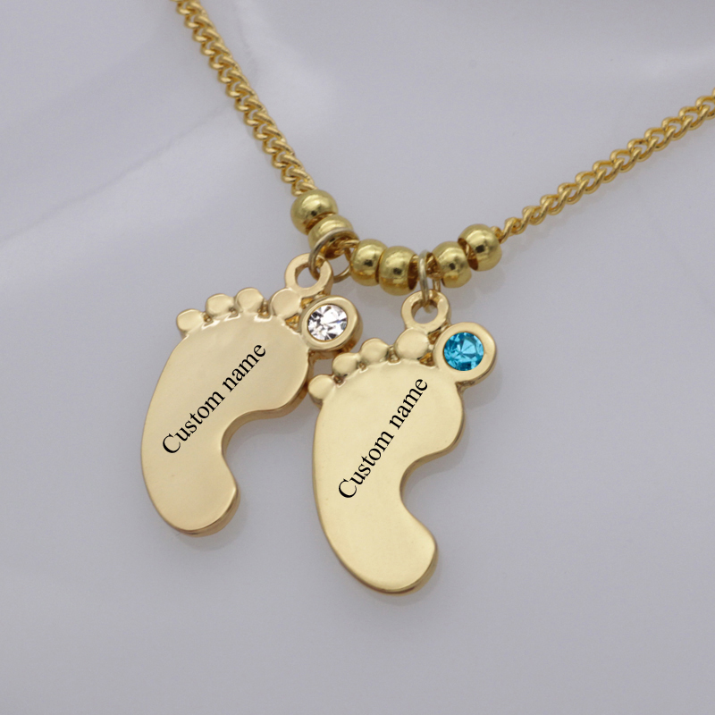 US $4 19 16% OFF Unique Baby Foot Necklace 2018 Top Selling Birthstone Long  Collar Necklaces Jewelry Can Custom Made Any Name Best Gift YP2976-in