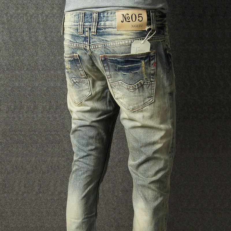 Fashion Streetwear Mannen Jeans Retro Gewassen Vernietigd Ripped Jeans Mannen Merk Designer Italiaanse Stijl Vintage Klassieke Jeans Homme