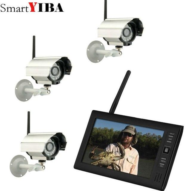 7 inch TFT דיגיטלי 2.4 גרם אלחוטי מצלמות אודיו וידאו תינוק צגים 4CH Quad DVR אבטחת מערכת עם IR לילה אור 3 מצלמה