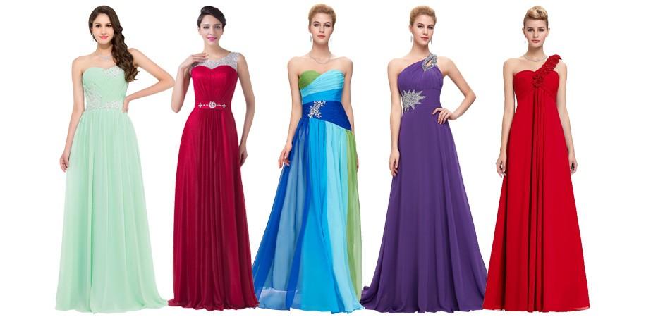 Peacock Bridesmaid Dresses 2018 Grace Karin Chiffon Plus Size Purple