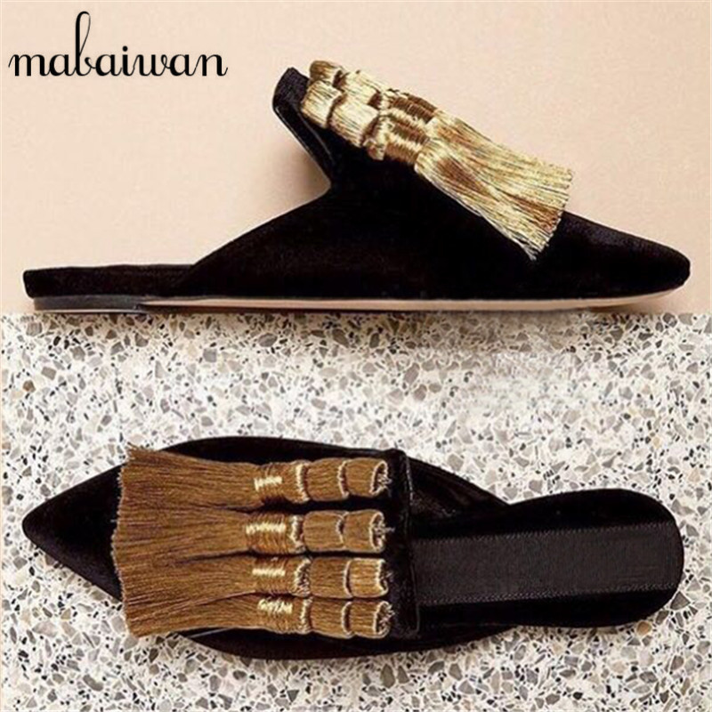 ФОТО Designer Velvet Women Tassels Slippers Gladiator Sandals Summer Casual Flat Shoes Woman Fringed Pointed Toe Slides Loafers Flats