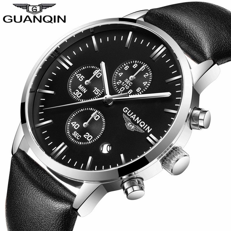 все цены на GUANQIN Mens Watches Top Brand Luxury Chronograph Luminous Quartz Clock Men Sport Leather Strap Wrist Watch relogio masculino в интернете