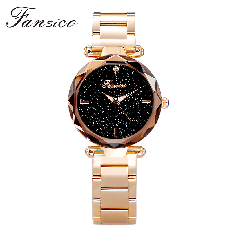 Fansico Luxury Women Watch Alloy Lady Dress Watches Girl Women Quartz Wrist Watch Wristwatch Steel Band Gifts Dropshipping women lady dress watch retro digital dial leather band quartz analog wrist watch watches for dropshipping