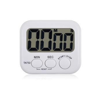 新しい液晶デジタルキッチンカウントダウンタイマーアラーム付きスタンドキッチンタイマー実用調理タイマー目覚まし時計ホワイト付きボックスデジタル時計