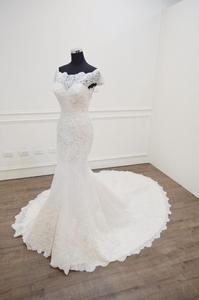 Image 4 - Vestido De Novia 2020 인어 웨딩 드레스 보트 넥 반팔 신부 드레스 가운 mariee 섹시한 레이스 웨딩 드레스