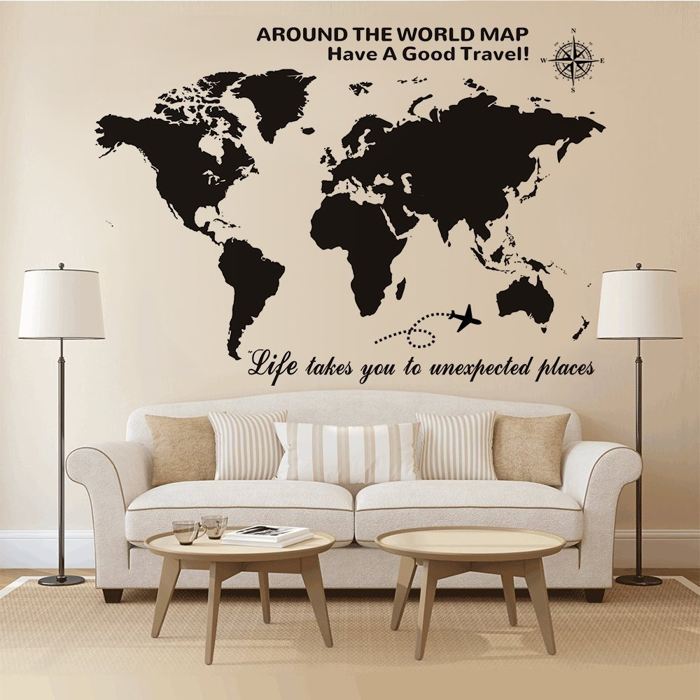 Large world map wall decal with compass global travel quotes wall large world map wall decal with compass global travel quotes wall decal vinyl sticker for home office wall decor art mural new in wall stickers from home gumiabroncs Images