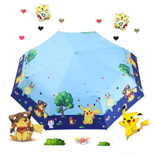 Childrens umbrella fully automatic cartoon Pikachu folded