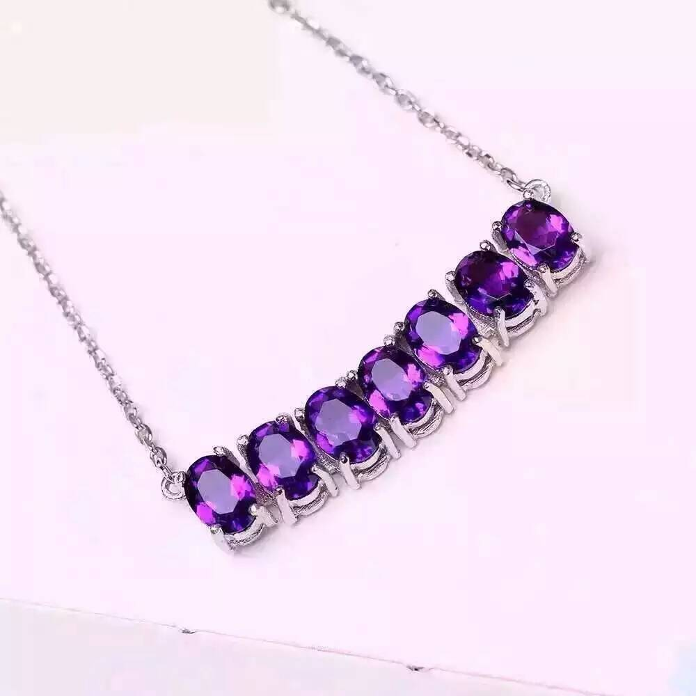 Natural amethyst Necklace natural crystal Pendant Necklace S925 silver trendy Elegant arrangement women party fine Jewelry цена 2017
