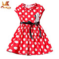 Monkids Cartoon Mouse Dress Girls Clothes Printing Dot Dresses Sleeveless Dress Girl Children Girls Clothing Clothes