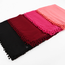 10 pcs/lot Women Cotton Scarf Pom Balls Winter Scarf Plain Shawls Hijab Muslim Wrap Headband 13 Color scarves/scarf 180*80cm