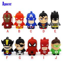 Apacer лучший подарок супергерой Мститель/Супермен/Бэтмен/Человек-паук флешки 4G 8 г 16 г 32 г 6 4G Usb 2,0 Usb флешка