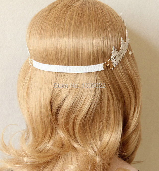 Fashion Vintage Stretch Hairband White Lace Rhinestone Goddess Bridal Hair Accessories Jewelry Queen Imperial Princess Headwear in Hair Jewelry from Jewelry Accessories