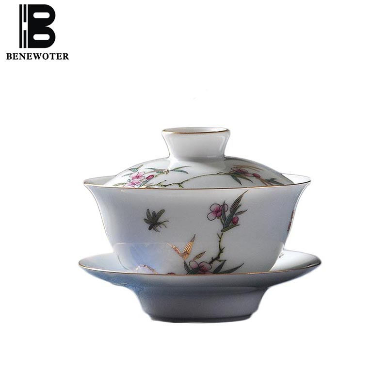 150ml Chinese Style Gaiwan Shallow Relief Pattern Teapot Office Kung Fu Tea Set Master Tea Bowl with Saucer Lid Kit Drinkware