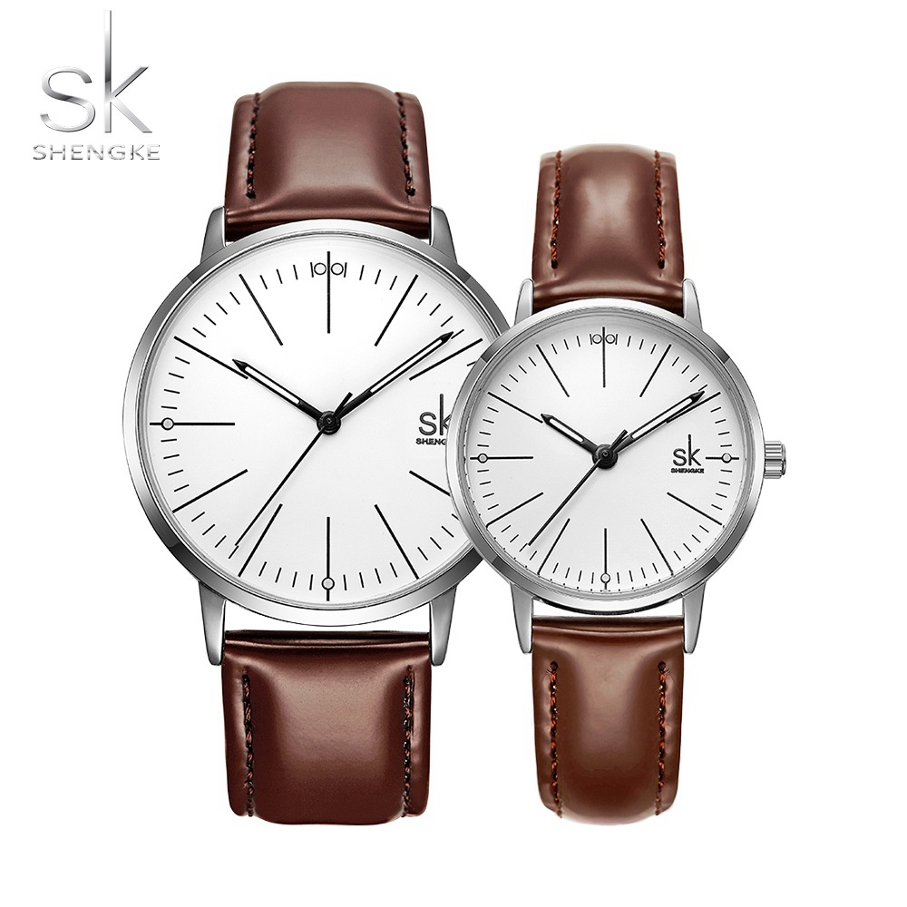 SK Couple Watch Men Women Watches SHENGKE Simple Quartz Reloj High Quality Relogio Masculino Business Clock Unisex Lover Watch